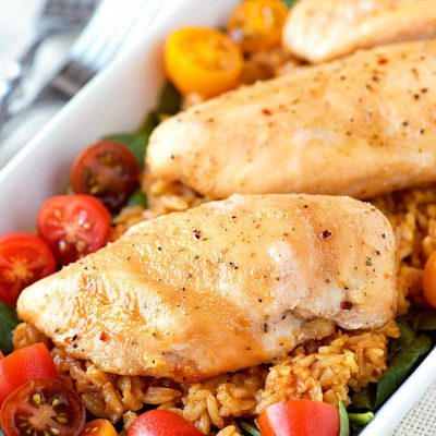 Sweet Italian Chicken! A 3-ingredient dinner that's perfect for a busy weeknight: tender and juicy chicken baked in sweet Italian seasonings that create a tasty glaze when cooked. | HomemadeHooplah.com