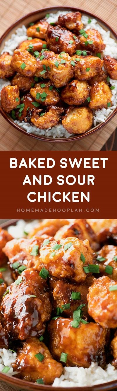 Baked Sweet and Sour Chicken! Skip the takeout and have a Chinese favorite at home: delicious sweet and sour sauce over tender chicken with a crispy breading. | HomemadeHooplah.com