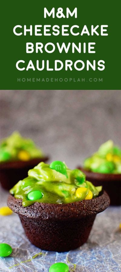 M&M Cheesecake Brownie Cauldrons! A creative spin on Halloween brownies: brownies baked in the shape of a cauldron and filled with green cheesecake filling, M&M's, and green caramel syrup. | HomemadeHooplah.com