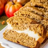 Pumpkin bread with a layer of cream cheese filling
