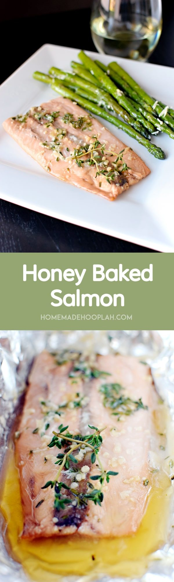 Honey Baked Salmon! Sweet, flaky salmon baked in foil. | HomemadeHooplah.com