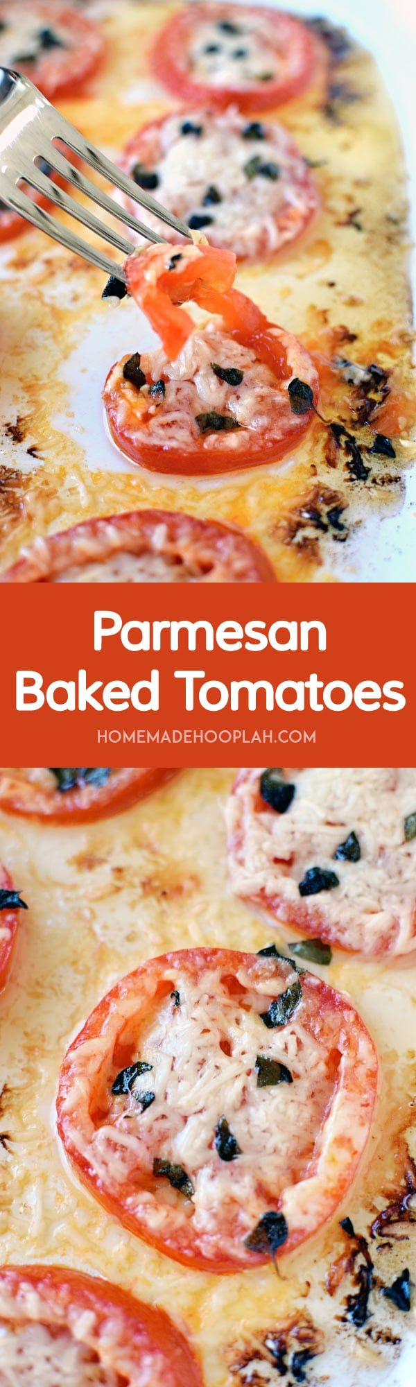 Parmesan Baked Tomatoes! It's like a pizza without the dough! Juicy tomatoes with parmesan cheese and fresh oregano.   HomemadeHooplah.com