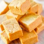 Easy pumpkin pie fudge with peanut butter and white chocolate