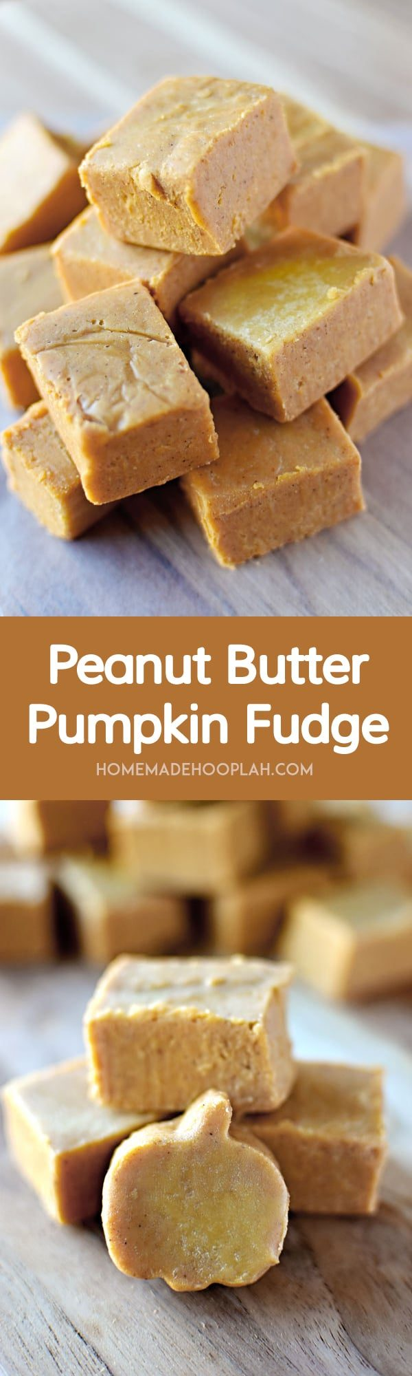 Peanut Butter Pumpkin Fudge! White chocolate fudge laced with creamy peanut butter and festive pumpkin that you can whip together in less than 10 minutes! | HomemadeHooplah.com
