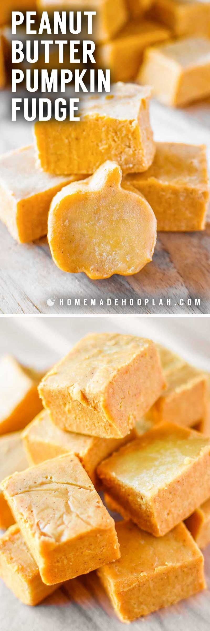 Peanut Butter Pumpkin Fudge! Creamy peanut butter fudge laced with white chocolate and festive pumpkin that you can whip together in less than 10 minutes! | HomemadeHooplah.com
