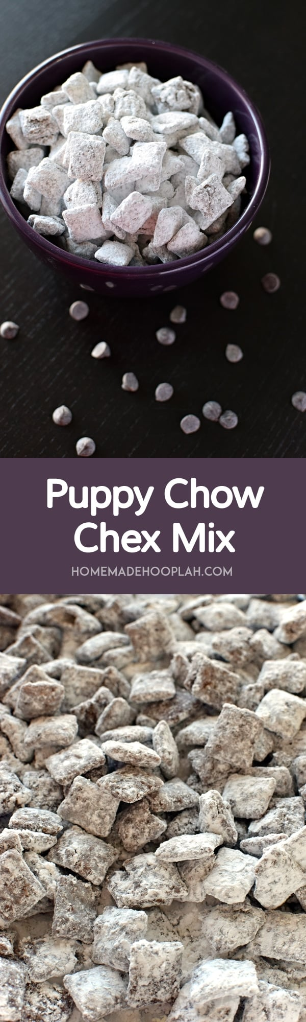 Puppy Chow Chex Mix! Crunchy Chex cereal covered in chocolate, peanut butter, and sugar. It's the classic winter snack food (and perfect for gifting, too)! | HomemadeHooplah.com