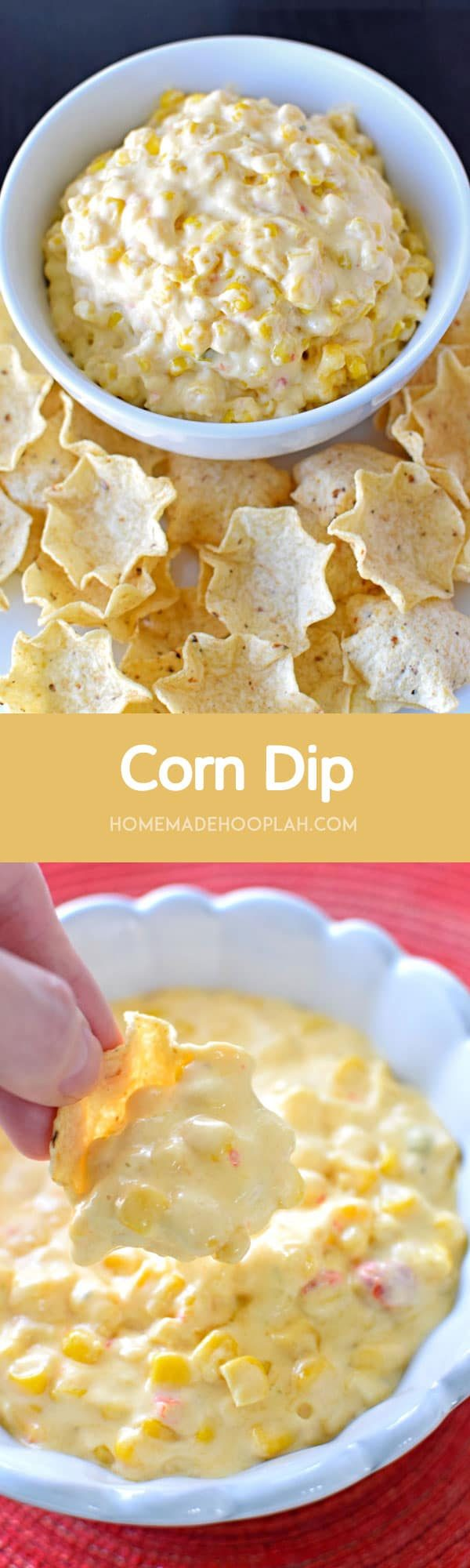 Corn Dip! A Mexican-style corn dip that's addictively good and that you can throw together in just 15 minutes. Makes for a perfect party snack!  HomemadeHooplah.com