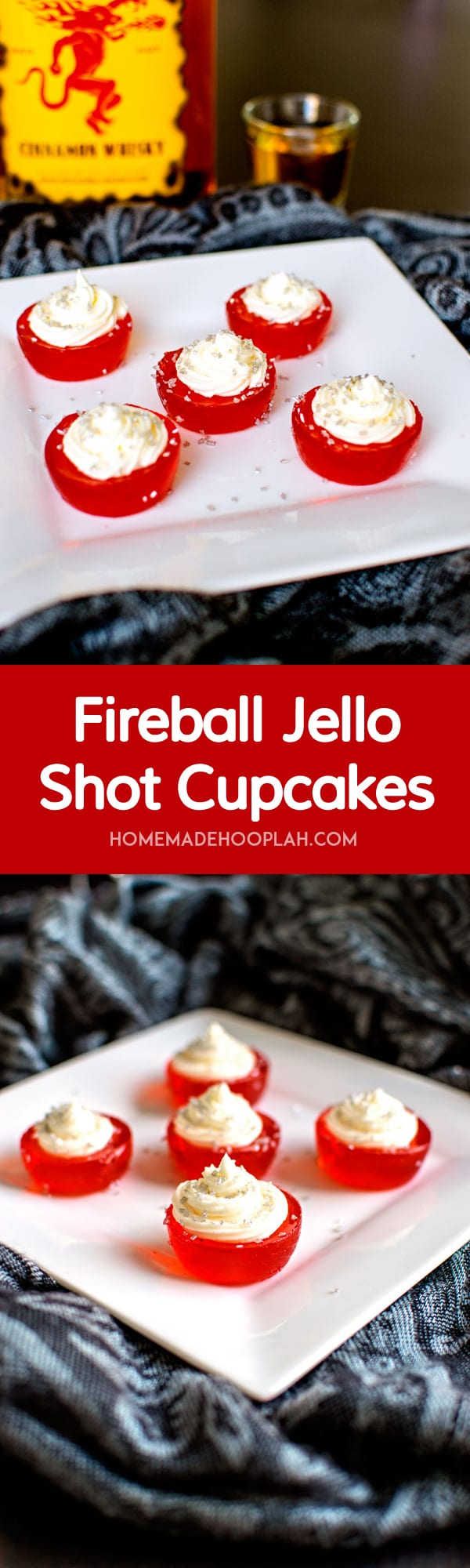 Fireball Jello Shot Cupcakes! Fireball jello shots infused with spicy taste of Fireball Whisky and topped with Fireball buttercream frosting. Another way to warm up your holiday! | HomemadeHooplah.com
