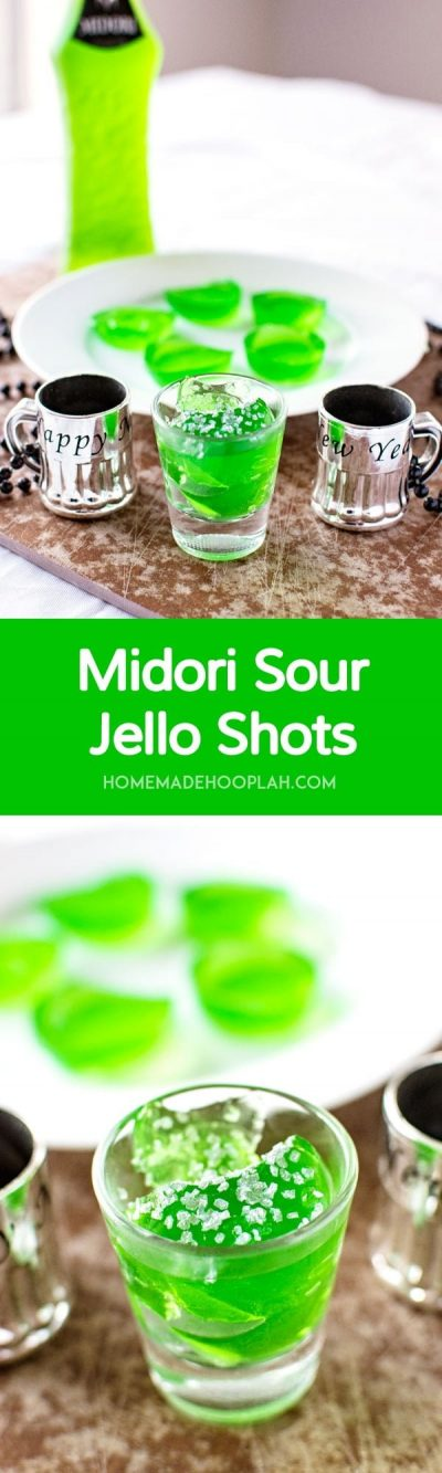 Midori Sour Jello Shots! A fun party favor with a hint of melon! Homemade jello shots infused with the taste of the classic Midori Sour mixed drink. What's not to love? | HomemadeHooplah.com