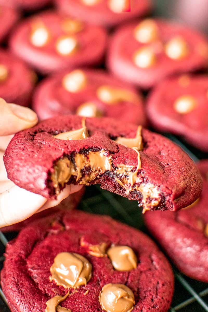 Soft and chewy red velvet cookies.