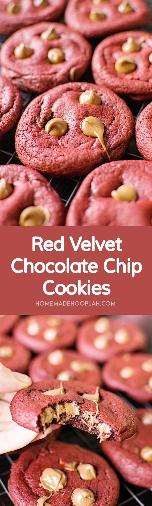 Red Velvet Chocolate Chip Cookies - Homemade Hooplah