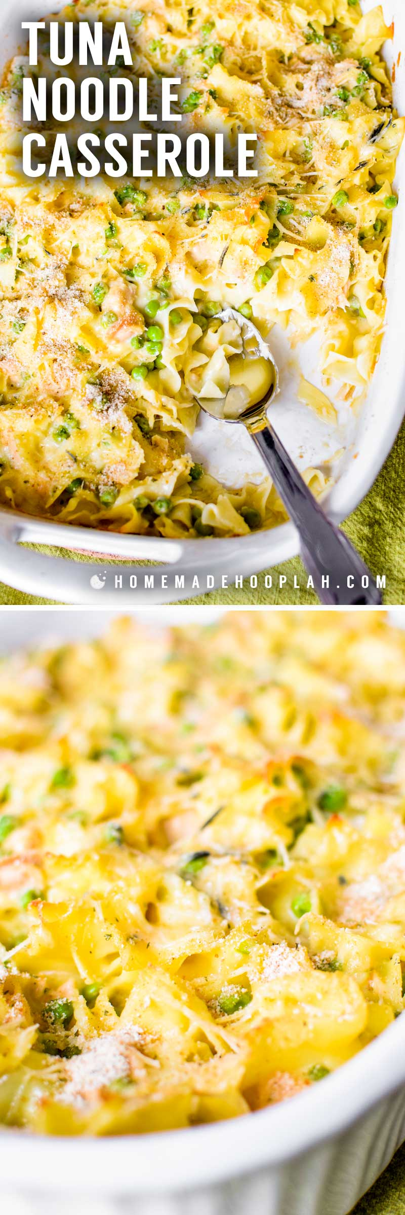 Tuna Noodle Casserole! This is a family dinner classic! Creamy and mixed cheese sauce baked with tuna, veggies, and soft egg noodles, then topped with seasoned panko bread crumbs. | HomemadeHooplah.com