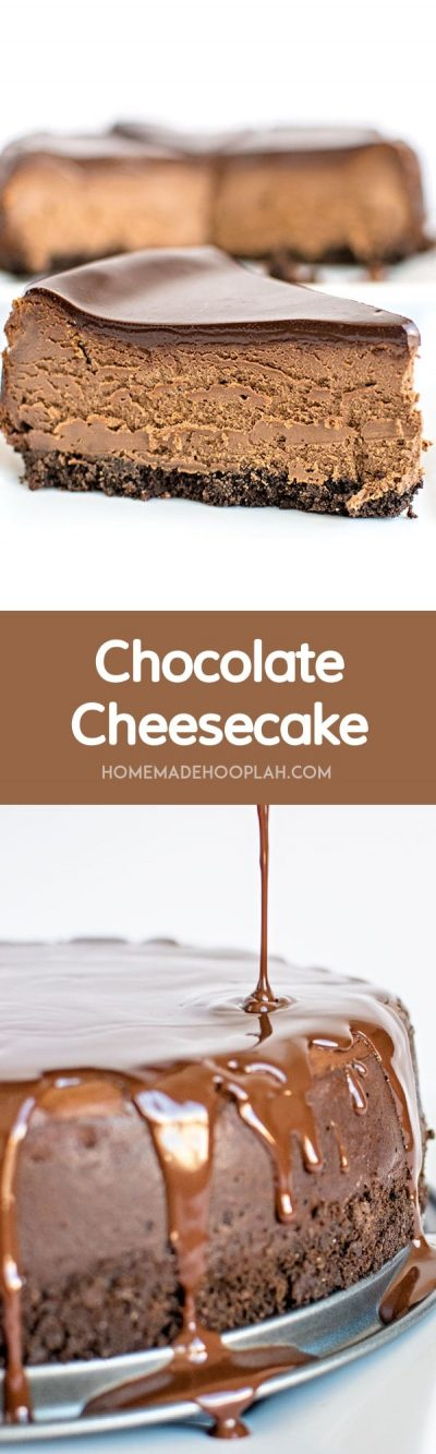 Chocolate Cheesecake! A classic and traditional chocolate cheesecake with a chocolate graham cracker crust and topped with a creamy chocolate ganache. | HomemadeHooplah.com