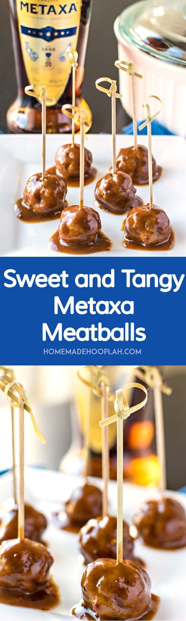Sweet and Tangy Metaxa Meatballs! Savory meatballs in a sweet and tangy sauce that's spiked with Metaxa. Serve them with pasta or as a snack at your next party! | HomemadeHooplah.com