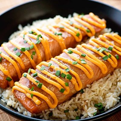 Teriyaki Salmon with Sriracha Cream