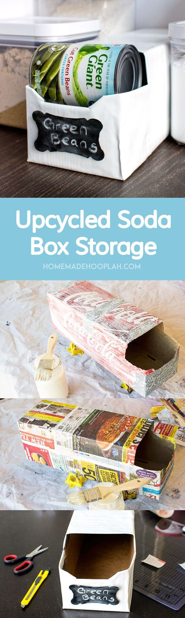 Upcycled Soda Box Storage! Reuse your empty soda boxes to create trendy can storage for your pantry!   HomemadeHooplah.com
