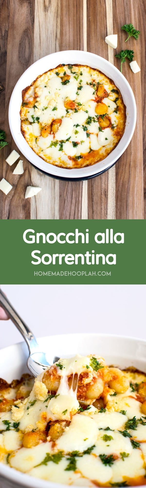 ... gnocchi covered in stringy mozzarella, tomato sauce, and light herbs