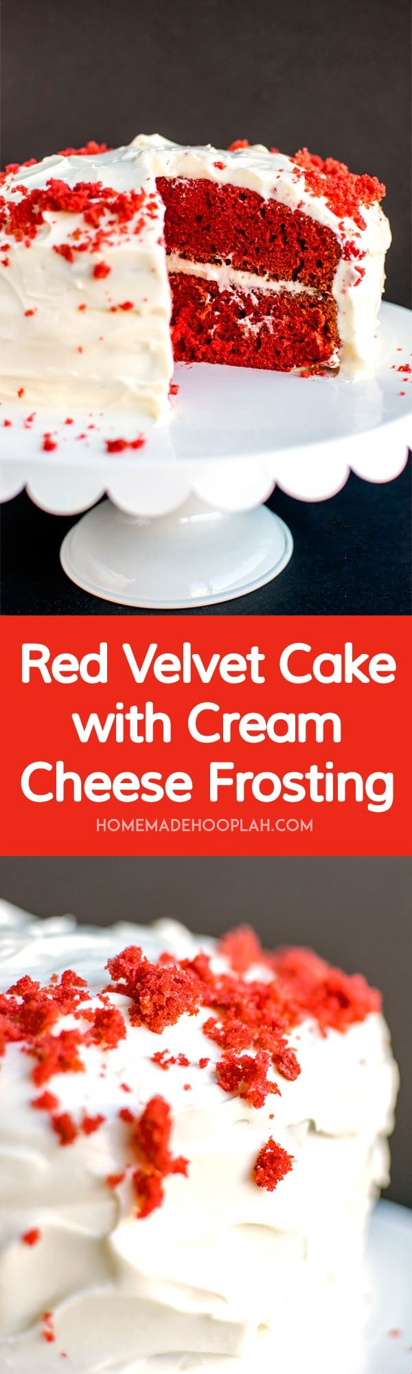 Red Velvet Cake with Cream Cheese Frosting! Moist and spongy red ...
