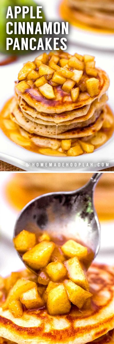 Apple Cinnamon Pancakes! Fluffy old fashioned cinnamon pancakes topped with fresh cut apples that are cooked in a cinnamon syrup glaze. Serve with more syrup or powdered sugar. | HomemadeHooplah.com