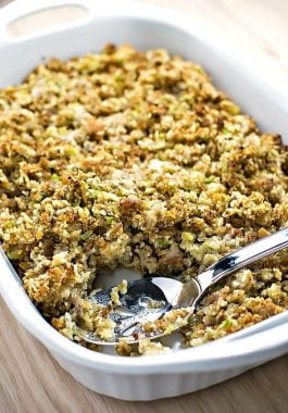 Homestyle Sausage Stuffing! The perfect homestyle sausage stuffing to round out your next holiday meal! | HomemadeHooplah.com