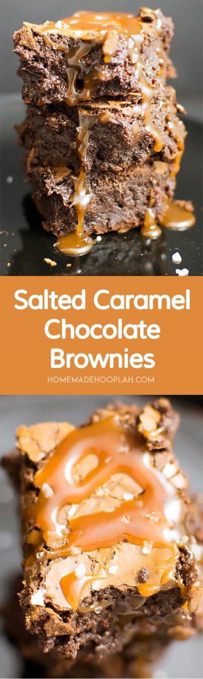Salted Caramel Chocolate Brownies! Give in to your sweet tooth with rich, chocolatey brownies that are baked & drizzled with a creamy caramel sauce and then topped with sea salt. | HomemadeHooplah.com