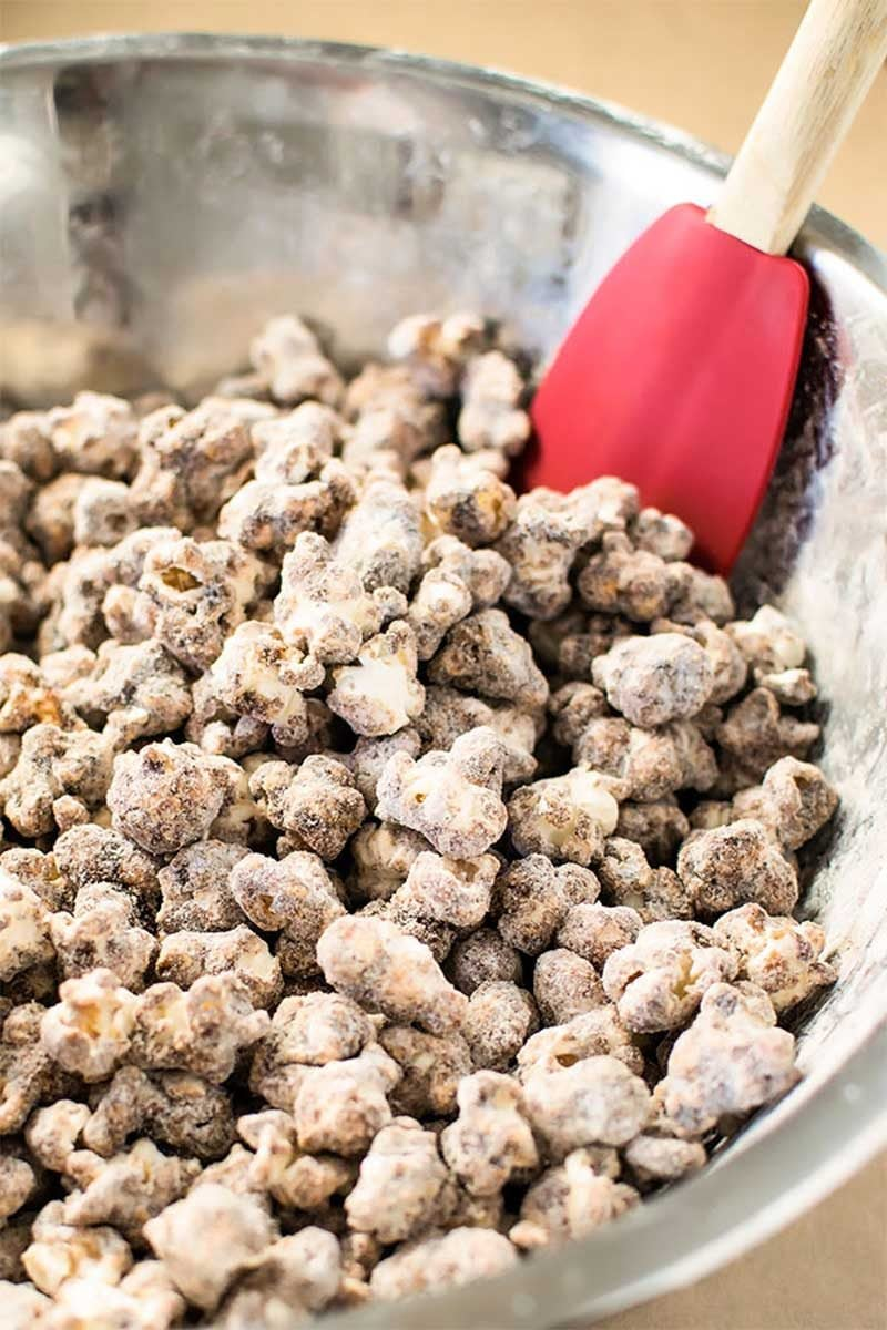 Churro Popcorn! Skip the deep fryer and make churro popcorn completely from scratch. It's sweet, chewy, and crunchy all at the same time! | HomemadeHooplah.com