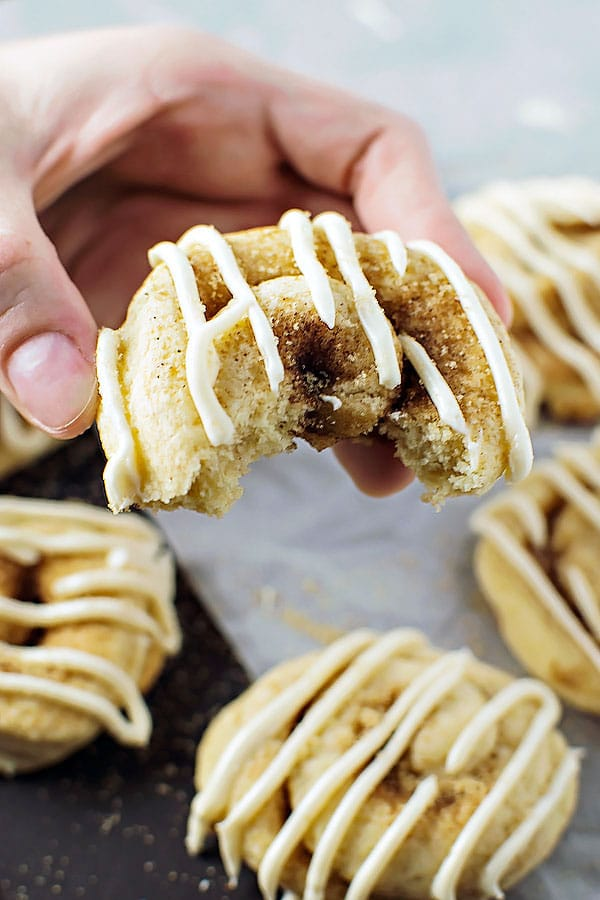 Cinnamon Bun Cookies! The sweet taste of cinnamon buns wrapped up in sugary cinnamon cookies. All the flavor for half the fuss! | HomemadeHooplah.com