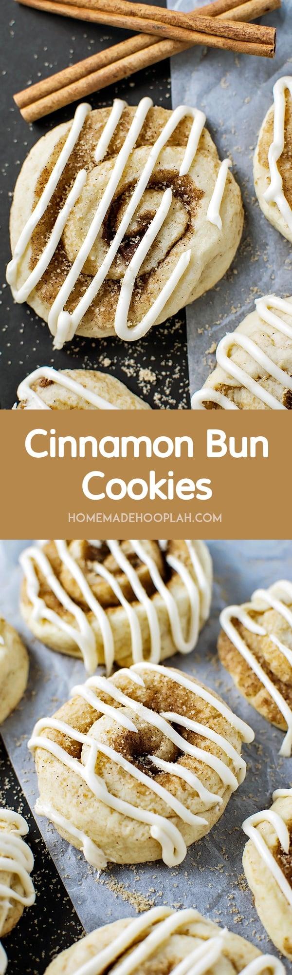 Cinnamon Bun Cookies! The sweet taste of cinnamon buns wrapped up in sugary cinnamon cookies. All the flavor for half the fuss! | HomemadeHooplah.com