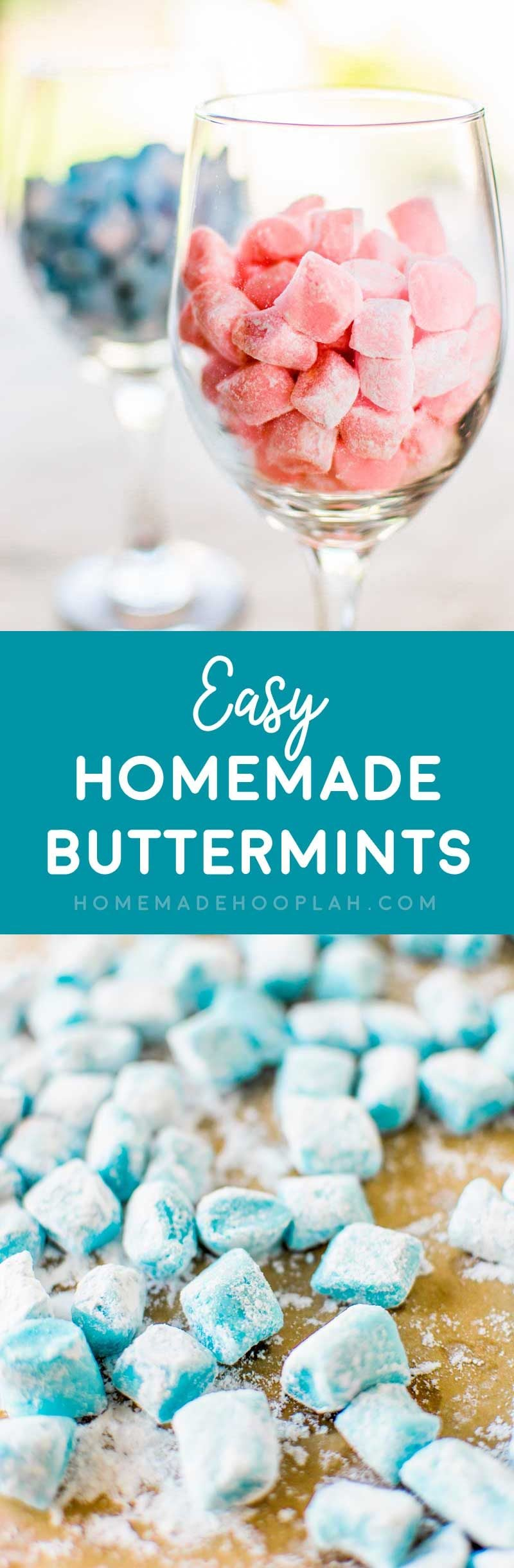 Easy Homemade Buttermints! A perfect appetizer or gift, this melt-in-your-mouth buttermint recipe is surprisingly easy to make at home. Customize them with different colors! | HomemadeHooplah.com