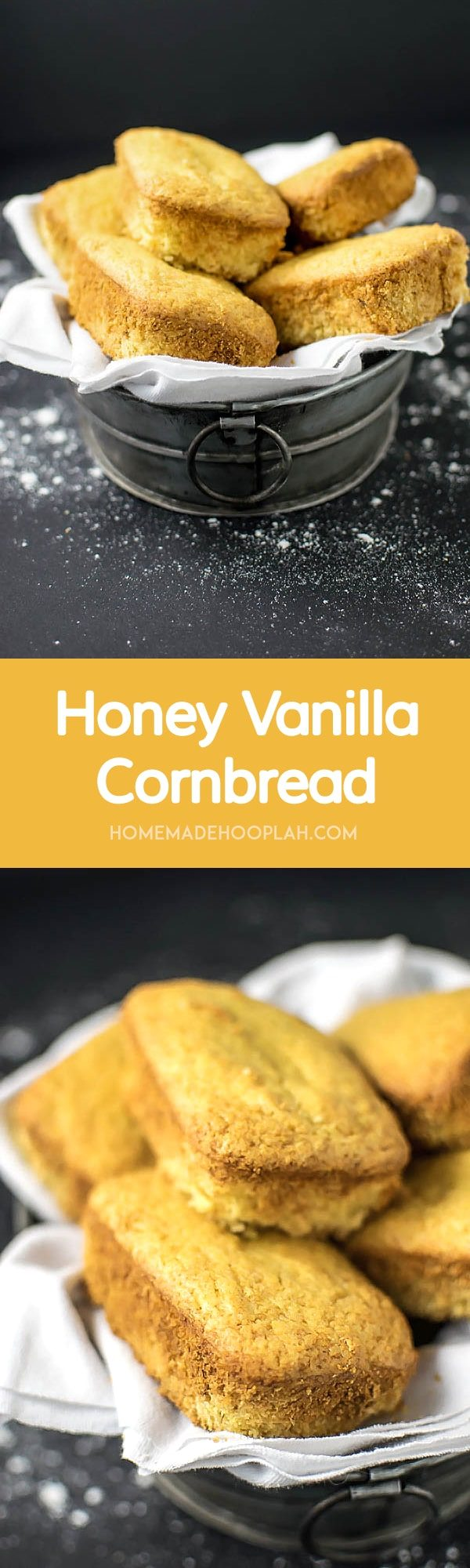 Honey Vanilla Cornbread! Classic honey cornbread with an extra dose of vanilla. | HomemadeHooplah.com