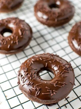 Chocolate Cake Donuts with Nutella Glaze