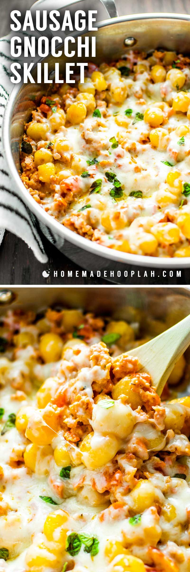 Sausage Gnocchi Skillet! Cheesy sausage gnocchi on a bed of tomato and garlic, cooked all in one pan - the perfect no-hassle meal for breakfast, lunch, or dinner. | HomemadeHooplah.com