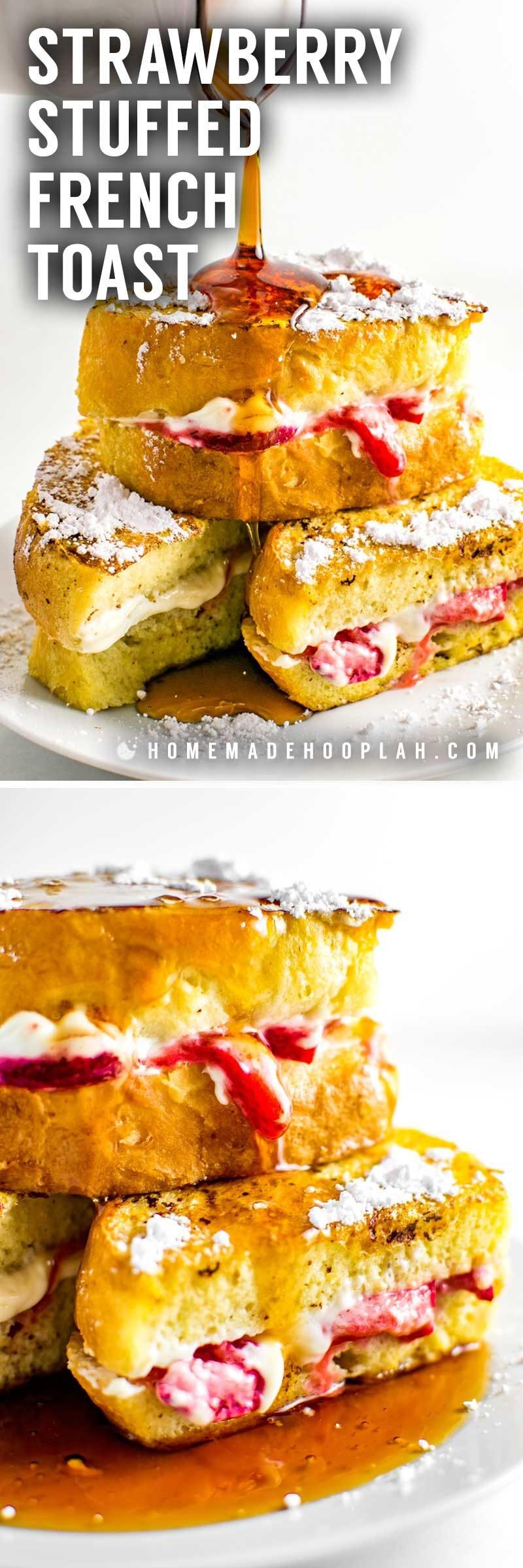 Easy strawberry cream cheese stuffed french toast recipe.