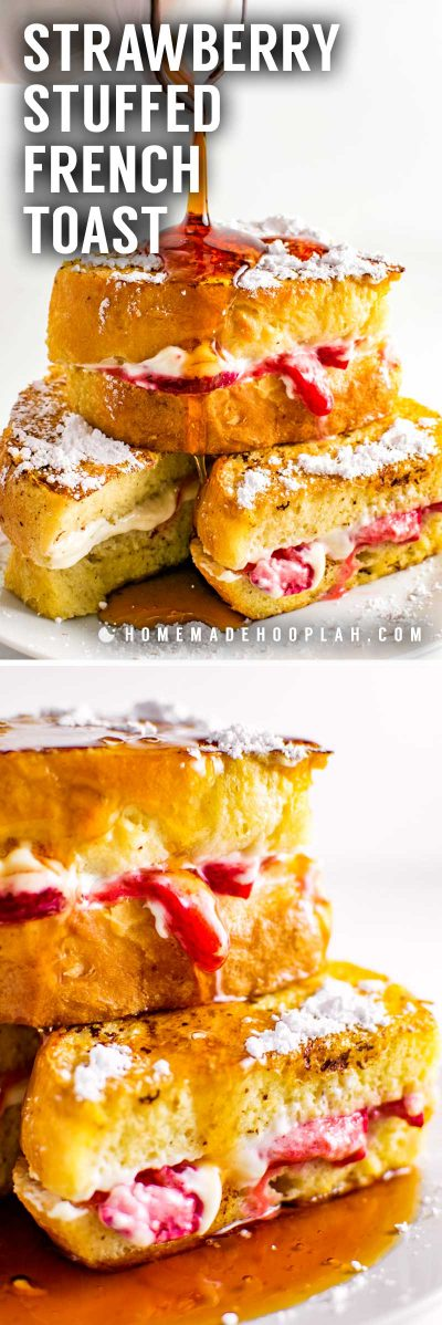Strawberry Stuffed French Toast! This thick vanilla and cinnamon french toast is stuffed with sweet cream cheese filling and sugar-coated strawberries for a quick and easy indulgent breakfast! | HomemadeHooplah.com