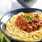 Homestyle Meat Sauce! A classic recipe for meat sauce from a time-worn recipe card in my mother's kitchen. It doesn't get more authentic than this! | HomemadeHooplah.com