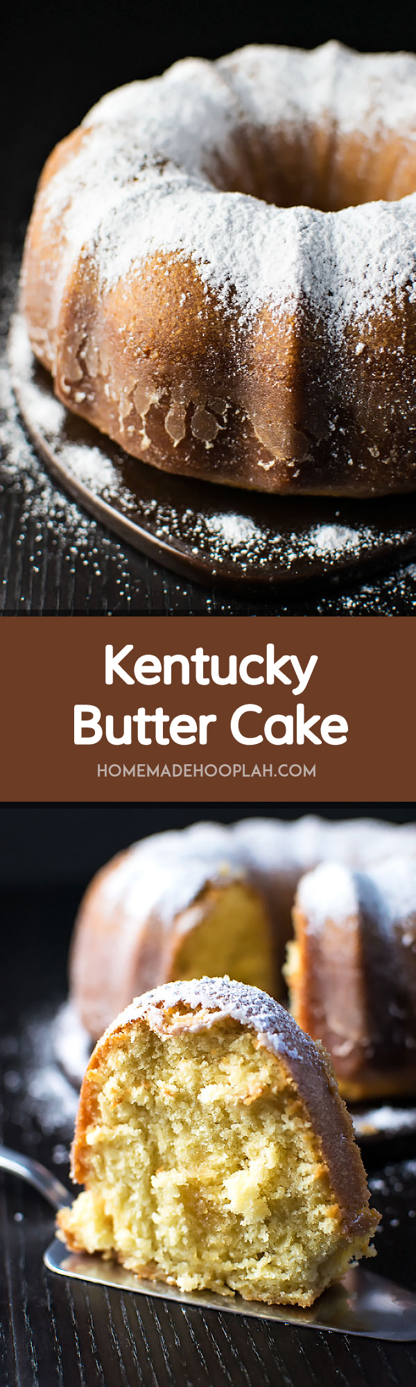Kentucky Butter Cake! Extra moist and crumbly pound cake covered in a crispy sugar coating (and no alcohol included, so family friendly.) Fair warning, this cake is addictive! | HomemadeHooplah.com