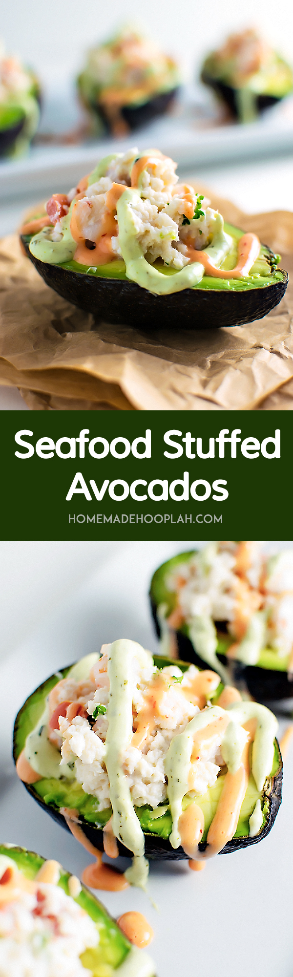 Seafood Stuffed Avocados! Halved avocados filled with chopped shrimp, fresh crab, and tomato and then drizzled with sriracha and avocado creams on top. | HomeamdeHooplah.com