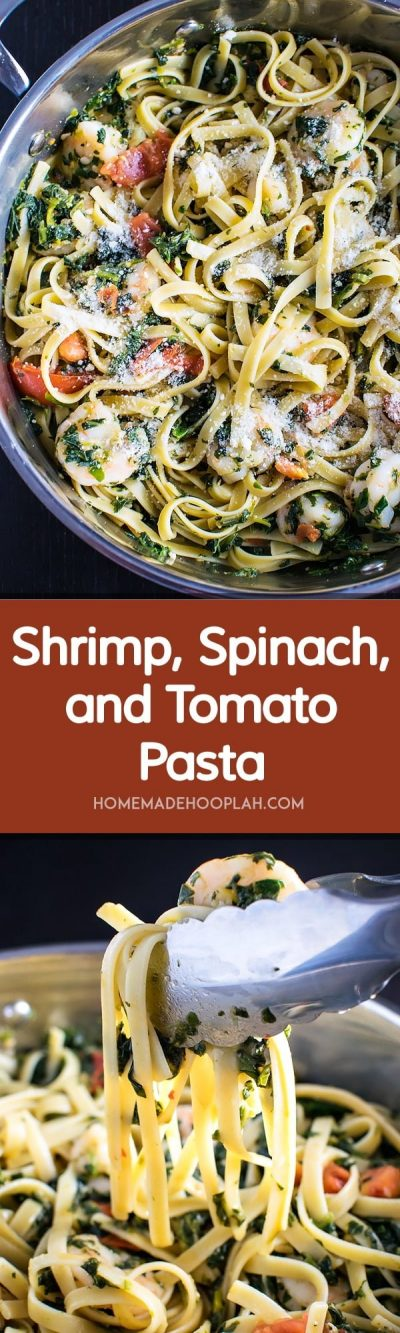 Shrimp, Spinach, and Tomato Pasta! This quick and easy dish of shrimp, spinach, and tomato is served on a bed of al dente fettuccine and is flavored with a simple lemon garlic butter sauce. | HomemadeHooplah.com