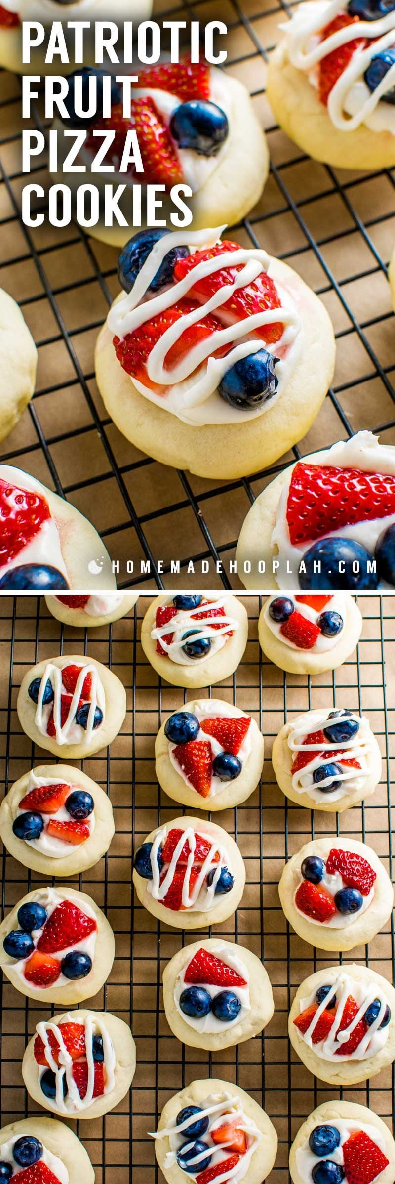 Patriotic Fruit Pizza Cookies! Celebrate the red, white, and blue holidays with these festive soft butter patriotic cookies topped with cream cheese frosting, chopped strawberries, and blueberries. | HomemadeHooplah.com