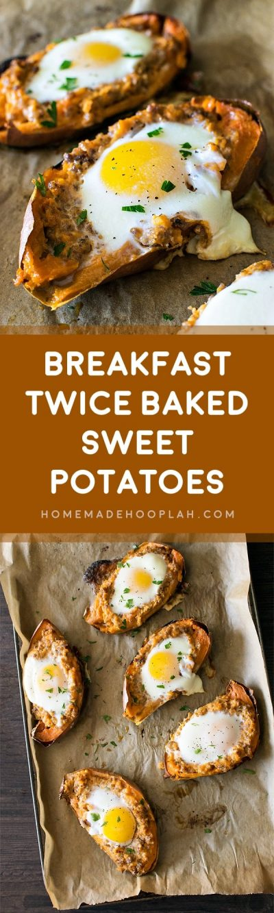 Breakfast Twice Baked Sweet Potatoes! Have the taste of fall all year round! Flavorful breakfast sausage in twice baked sweet potatoes and topped with an over easy egg.   HomemadeHooplah.com