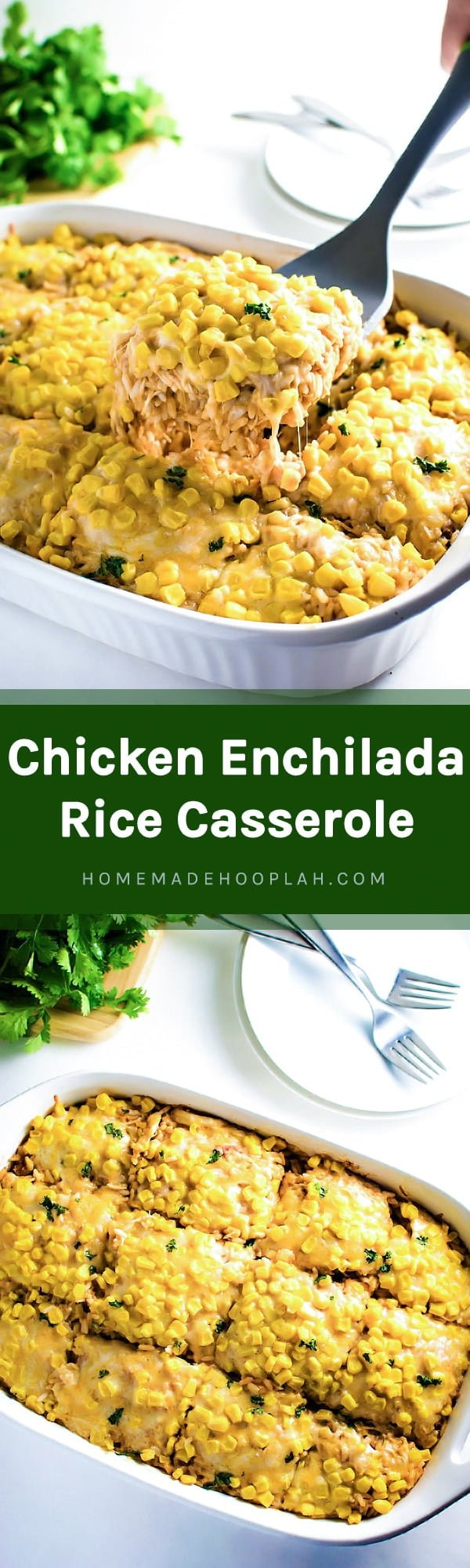 Chicken Enchilada Rice Casserole! The easier way to enjoy a chicken enchilada - baked in a dish with tender rice! | HomemadeHooplah.com