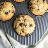 Chocolate Chip Muffins with Cinnamon and Nutmeg! Classic chocolate chip muffins, but with a twist - adding cinnamon and nutmeg to bring out a rich dark chocolate flavor. | HomemadeHooplah.com