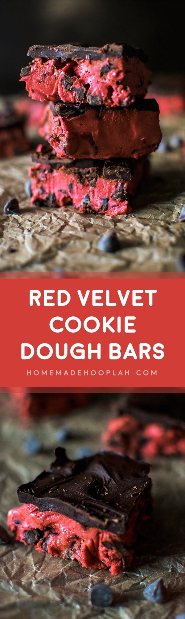 Red Velvet Cookie Dough Bars! Chewy and gooey red velvet cookie dough (eggless and no bake) laced with semi-sweet chocolate chips and covered in a semi-sweet chocolate shell. | HomemadeHooplah.com