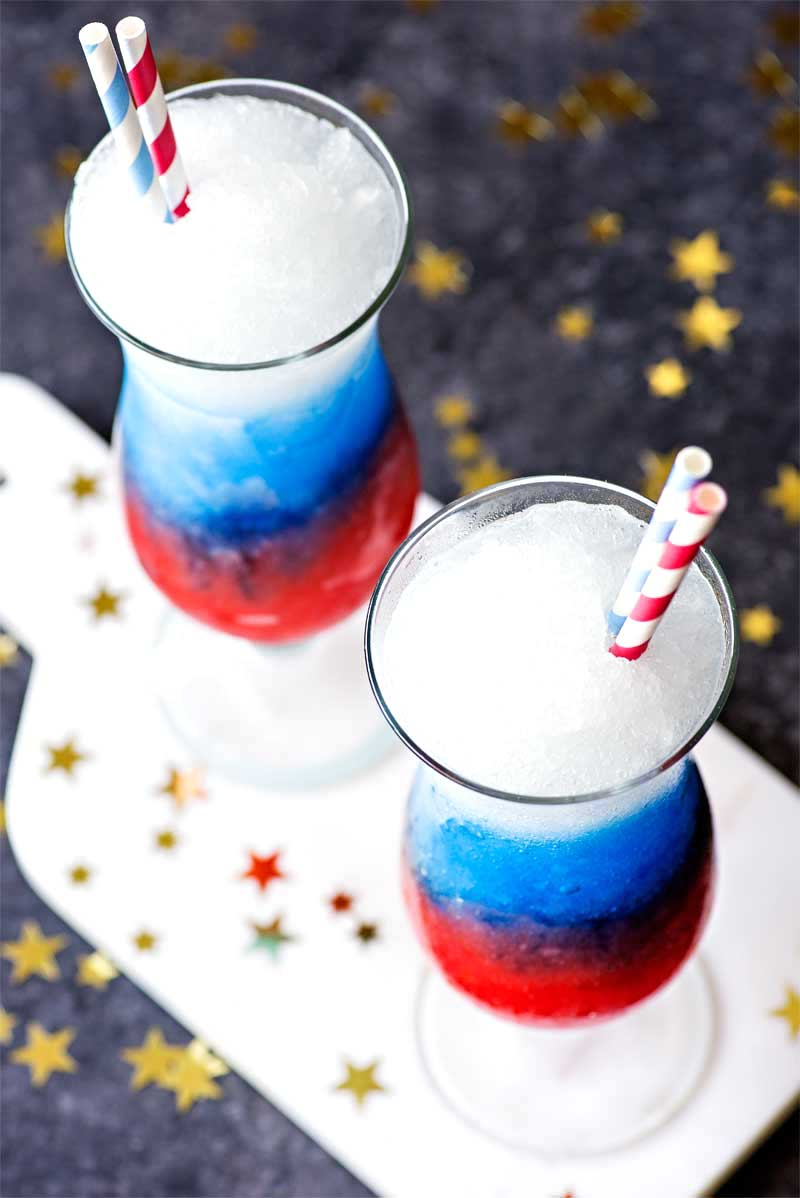 Red white and blue alcoholic slushies.