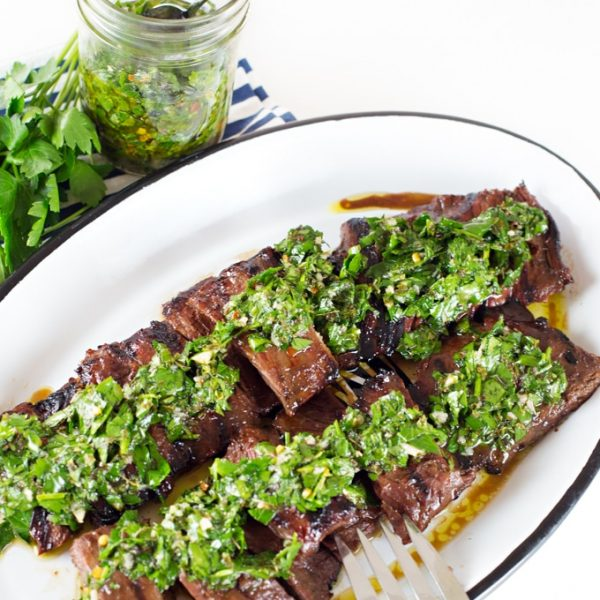 Chimichurri Sauce on Grilled Flank Steak from Joy In Every Season