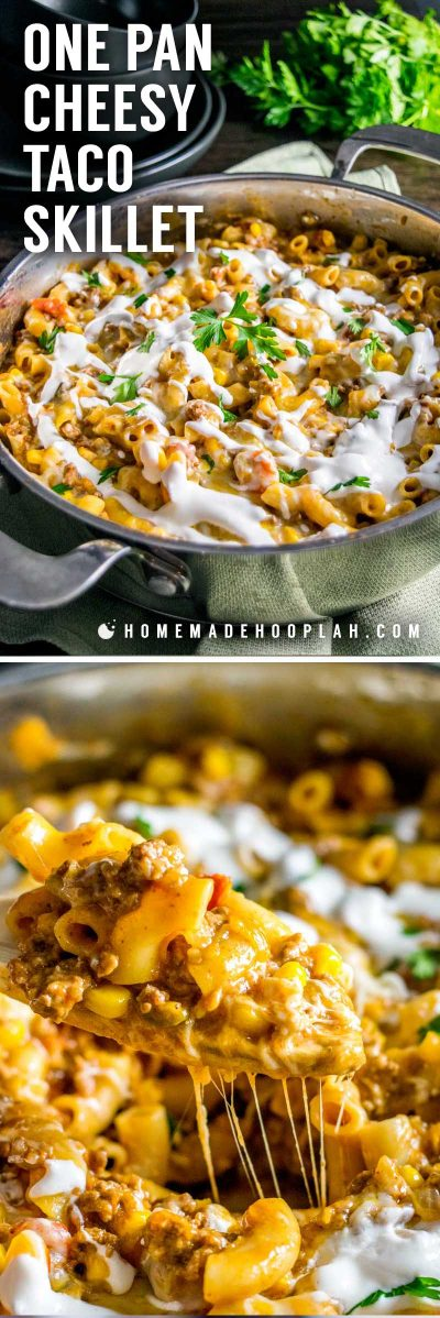 One Pan Cheesy Taco Skillet! An easy taco skillet that's like a gourmet version of Hamburger Helper. Perfect to make on busy weeknights. Plus, you can make it as spicy (or not) as you want! | HomemadeHooplah.com