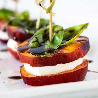 Peach Caprese Appetizer! A fresh, summery way to entertain your guests with peaches in their prime season. | HomemadeHooplah.com