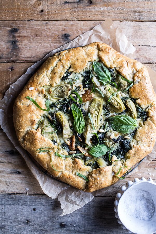 10 Must-Try Galette Recipes, From Sweet to Savory - Spinach and Artichoke Galette from Half Baked Harvest
