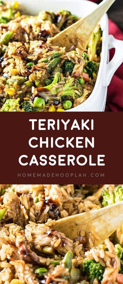 Teriyaki Chicken Casserole! Have your favorite Chinese takeout prepared in a different way: baked in a casserole dish with assorted veggies and fried rice. | HomemadeHooplah.com