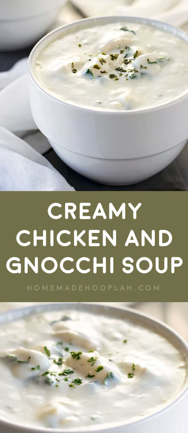 Creamy Chicken and Gnocchi Soup! Creamy and delicious gnocchi soup made with savory chicken and seasoned with and onions, celery, carrots, spinach, and herbs. | HomemadeHooplah.com